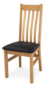 Solid Oak Chair, Real Leather Seat