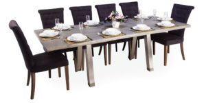 Oak Rectangular Rustic Grey Stainless Steel Legs Table