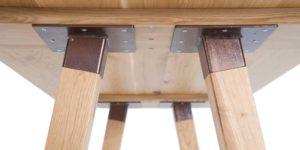 Oak Rectangular Rustic Steel Timber Insert Leg Table