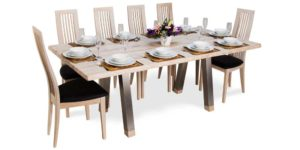 Oak Rectangular Rustic White Drawleaf Stainless Steel Leg Table