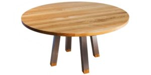 Oak Round Table with Stainless Steel Legs