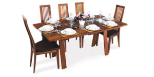 Solid Walnut Glass Insert Dinning Table
