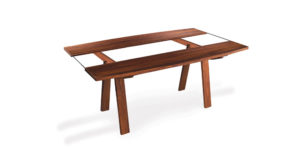 Solid Walnut Glass Insert Dinning Table