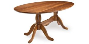 Solid Walnut Elliptical Pedestal Dinning Table