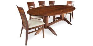 Solid Walnut Elliptical Pedestal Dinning Table
