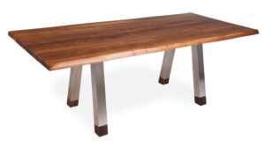 Walnut Rectangular Stainless Steel Leg Dinning Table