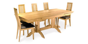 Oak Curved Drawleaf Kitchen Table with twin pedestals