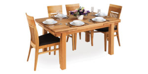 Solid Oak Rectangular Drawleaf Kitchen Table with 4 Legs