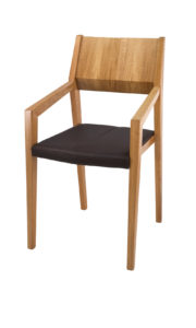 Burren Solid Oak Carver dinning or kitchen chair with real leather seat.