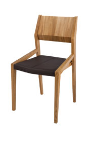 Burren Solid Oak side dinning or kitchen chair with real leather seat.