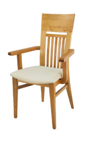Curved Solid Oak Carver Dining Chair with Black Italian Real Leather seat.