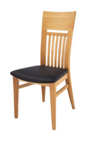 Curved Solid Oak Side Dining Chair with Black Italian Real Leather seat.