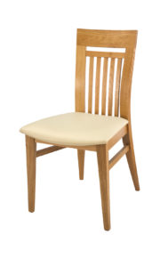 Curved Solid Oak Low Back Side Chair with Cream Italian Real Leather