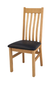 Farrington Oak Side Chair Black Leather Seat