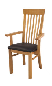 Mialno Solid Oak Carver chair with a brown Italian leather seat.