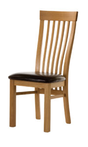Mialno Solid Oak side chair with a brown Italian leather seat.