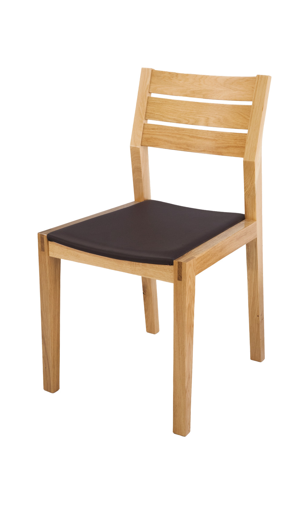 Twin Slat Beech Side Chair with a Brown Leather Seat