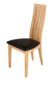 Turin Solid Beech Chair with Cream real Italian Leather seat.