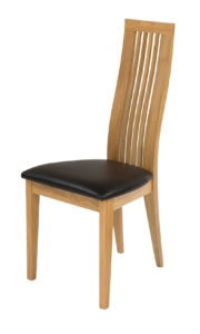 Turin Solid Oak side chair with brown Italian real leather seat.