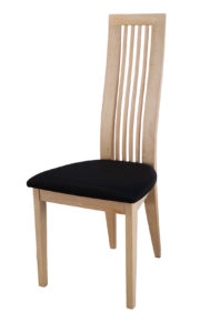 Turin Solid Oak White Side chair with a black Italian real leather seat.