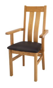 Twin Slat Solid Oak Carver Dinning or Kitchen Chair with Italian Real Leather.