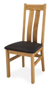 Twin Slat Solid Oak Side Dinning or Kitchen Chair with Italian Real Leather.
