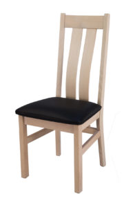 Twin Slat Solid Oak White Side Dinning or Kitchen Chair with Italian Real Leather.