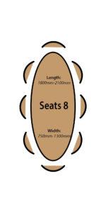 Seats 8 people