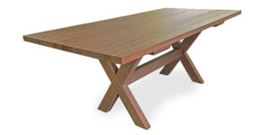 A stunning table with an X frame leg. Made from solid oak. Seats 10 people.