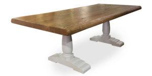 Oak Pillar White Leg Dinning and Kitchen Table