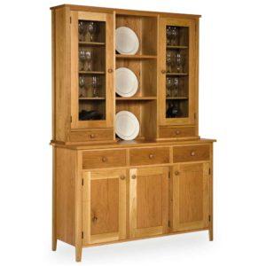 Oak Shaker Glazed Drawer Display Cabinet