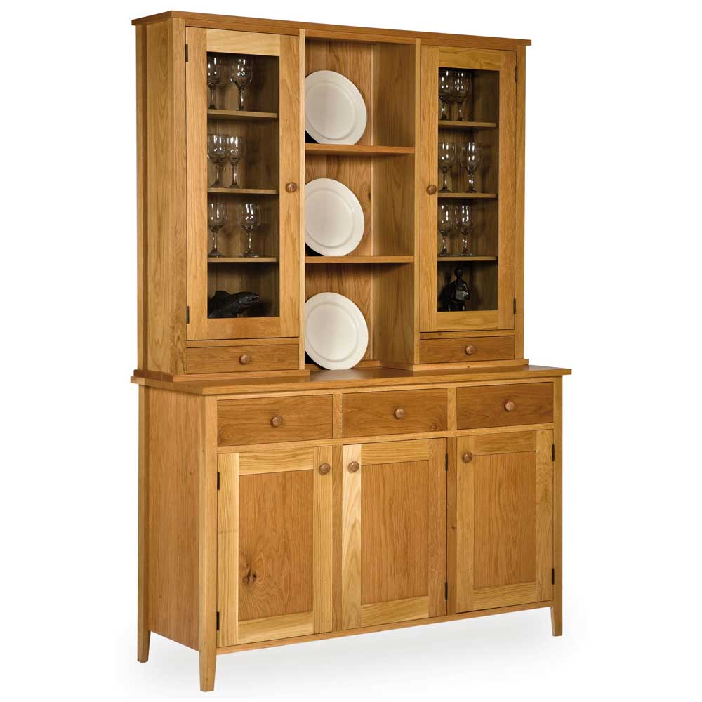 Oak Shaker Glazed Drawer Display Cabinet