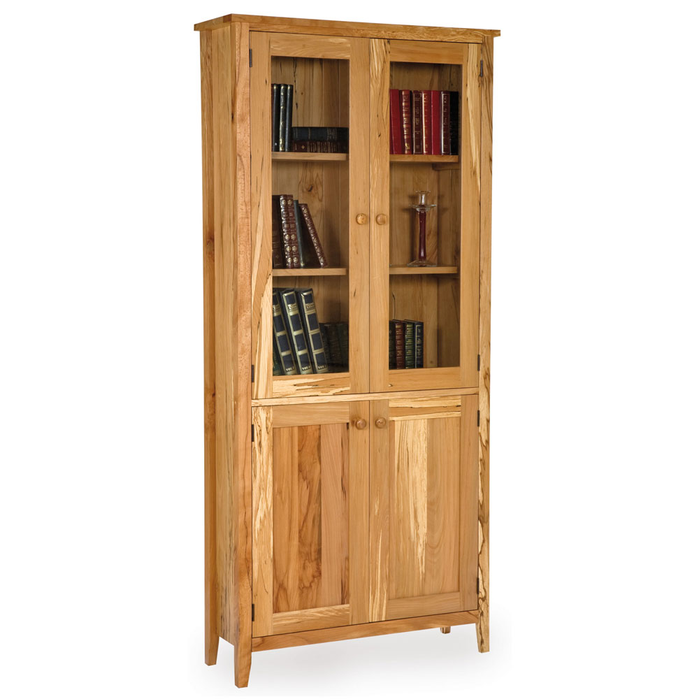 Spalted Beech Shaker Glazed Bookcase