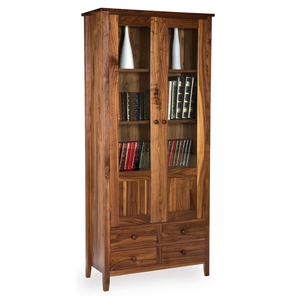 Walnut Shaker Glazed Bookcase with Drawers