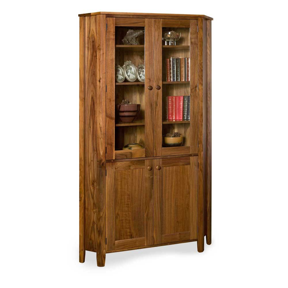 Walnut Shaker Glazed Corner Display Cabinet