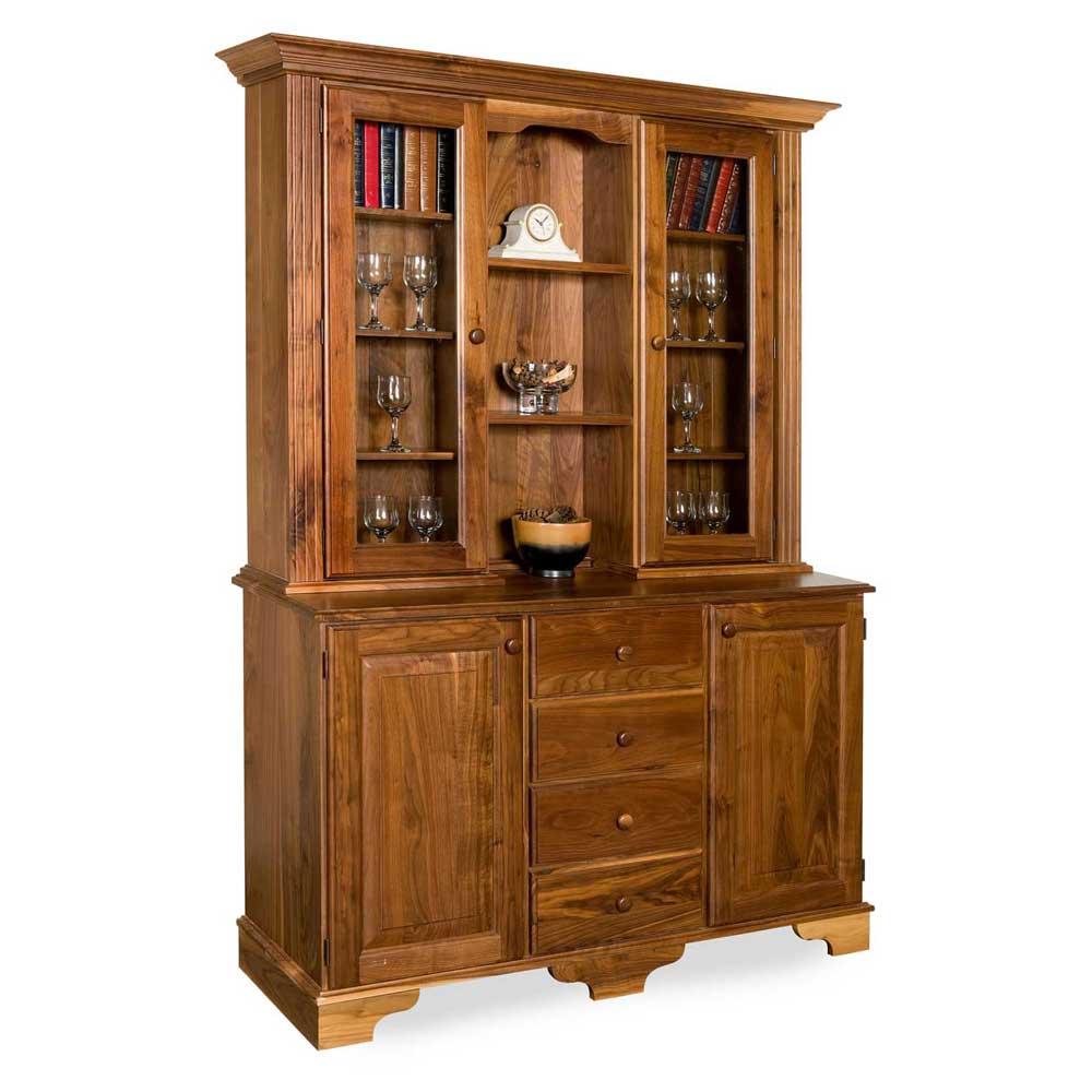 Walnut Traditional Glazed Narror Display Cabinet