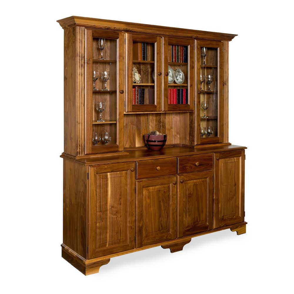 Walnut Traditional Glazed Display Cabinet