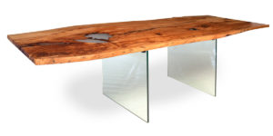 Spalted Beech Resin Lake Table Glass Base