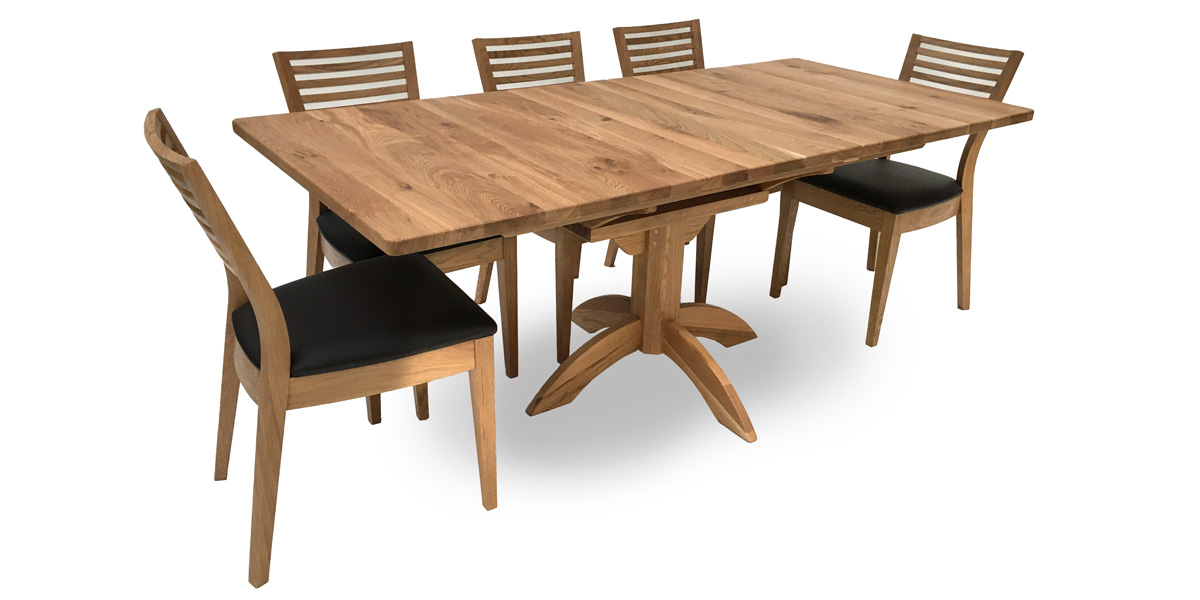 Solid Oak Rectangular Flip Top Single Pod Table (1 only)