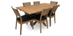 Oak Drawleaf Curved Single Pod Table (made to order)