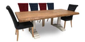 Oak Rectangular Lightly Brushed Pillar Table (made to order)