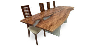 Spalted Beech Ophilia Range Table Clear Resin Glass Legs (1 only)