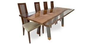 Spalted Beech Ophilia Range Table Clear Resin Stainless Steel Legs (1 only)