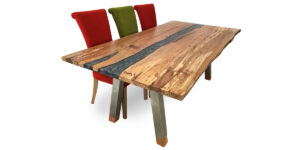 Spalted Beech Ophilia Range Table Metalic Silver Resin Stainless Steel Legs (1 only)