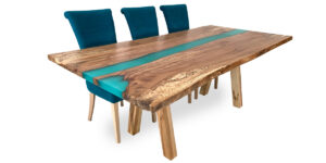 Splated Beech Ophilia Range Turquise Resin Table Sycamore Splayed Legs (1 only)