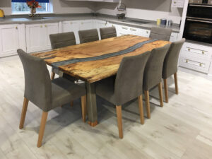 Spalted Beech Silver River Resin Table