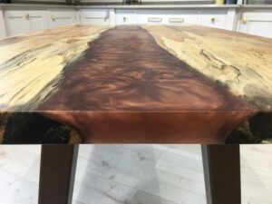 Splated Beech Copper Resin Table