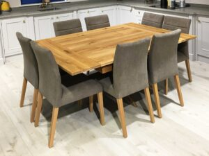 Oak-Square-Drawleaf-Extending-Table,-Single-Pedestal