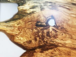 Spalted Beech Clear Resin Table Splayed Timber Leg