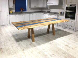 Spalted Beech Double River Resin Table Timber Legs
